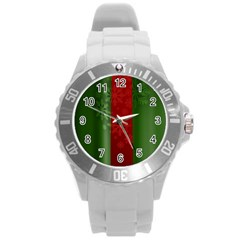 Background Christmas Round Plastic Sport Watch (L)