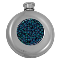 Background Abstract Textile Design Round Hip Flask (5 oz)