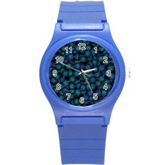 Background Abstract Textile Design Round Plastic Sport Watch (S)
