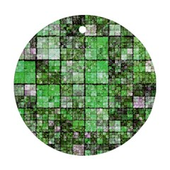 Background Of Green Squares Ornament (Round)