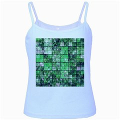 Background Of Green Squares Baby Blue Spaghetti Tank