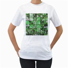 Background Of Green Squares Women s T-Shirt (White) (Two Sided)