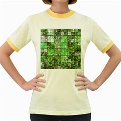 Background Of Green Squares Women s Fitted Ringer T-Shirts