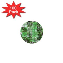 Background Of Green Squares 1  Mini Buttons (100 pack)