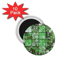 Background Of Green Squares 1.75  Magnets (10 pack)