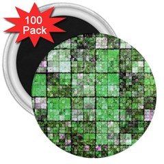 Background Of Green Squares 3  Magnets (100 pack)