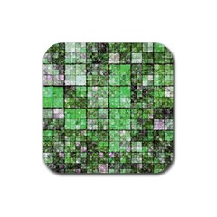 Background Of Green Squares Rubber Square Coaster (4 pack)