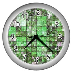 Background Of Green Squares Wall Clocks (Silver)