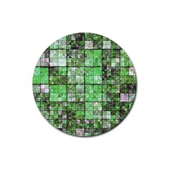 Background Of Green Squares Rubber Round Coaster (4 pack)