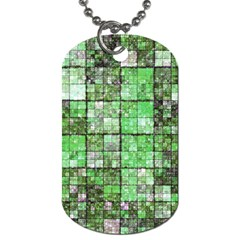 Background Of Green Squares Dog Tag (two Sides)