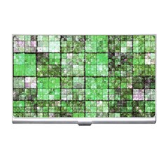 Background Of Green Squares Business Card Holders