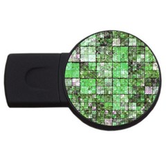 Background Of Green Squares USB Flash Drive Round (1 GB)
