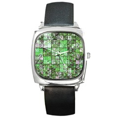 Background Of Green Squares Square Metal Watch