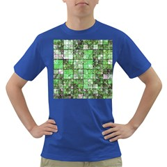 Background Of Green Squares Dark T-Shirt