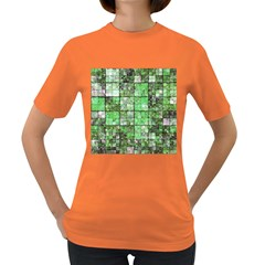 Background Of Green Squares Women s Dark T-Shirt