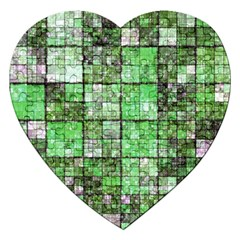 Background Of Green Squares Jigsaw Puzzle (Heart)