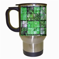 Background Of Green Squares Travel Mugs (White)
