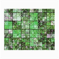 Background Of Green Squares Small Glasses Cloth