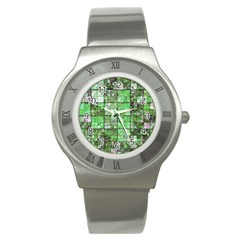 Background Of Green Squares Stainless Steel Watch