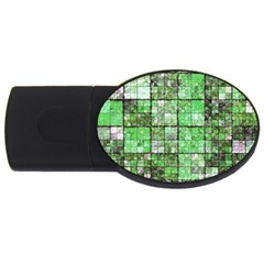 Background Of Green Squares USB Flash Drive Oval (4 GB)