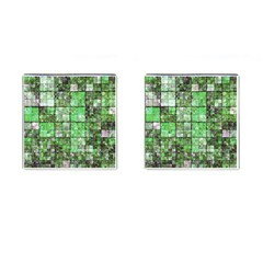 Background Of Green Squares Cufflinks (Square)