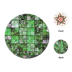 Background Of Green Squares Playing Cards (Round)