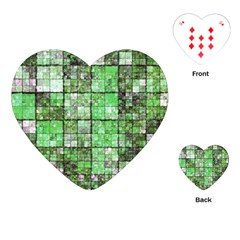 Background Of Green Squares Playing Cards (Heart)