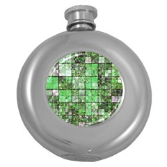 Background Of Green Squares Round Hip Flask (5 oz)