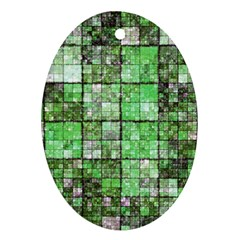 Background Of Green Squares Oval Ornament (Two Sides)