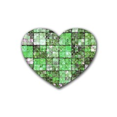 Background Of Green Squares Heart Coaster (4 pack)