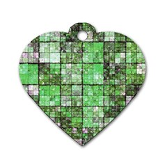 Background Of Green Squares Dog Tag Heart (Two Sides)
