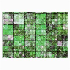 Background Of Green Squares Large Glasses Cloth