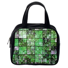 Background Of Green Squares Classic Handbags (One Side)