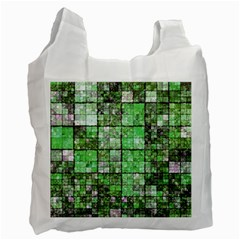 Background Of Green Squares Recycle Bag (One Side)