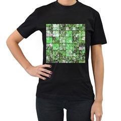 Background Of Green Squares Women s T-Shirt (Black)