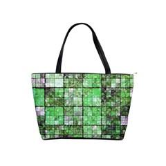Background Of Green Squares Shoulder Handbags