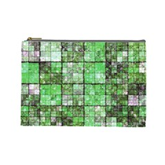 Background Of Green Squares Cosmetic Bag (Large)