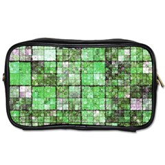 Background Of Green Squares Toiletries Bags
