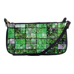 Background Of Green Squares Shoulder Clutch Bags
