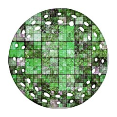 Background Of Green Squares Ornament (Round Filigree)