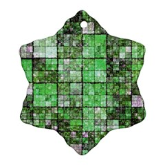 Background Of Green Squares Snowflake Ornament (Two Sides)