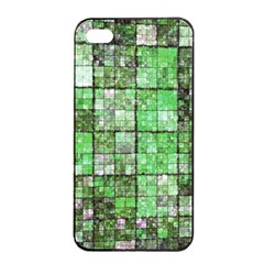Background Of Green Squares Apple iPhone 4/4s Seamless Case (Black)