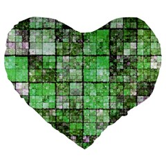 Background Of Green Squares Large 19  Premium Heart Shape Cushions