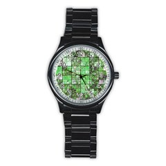 Background Of Green Squares Stainless Steel Round Watch