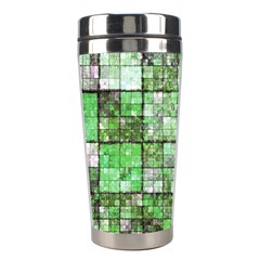 Background Of Green Squares Stainless Steel Travel Tumblers