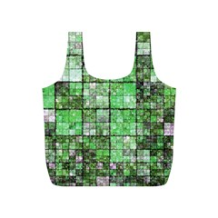 Background Of Green Squares Full Print Recycle Bags (S)