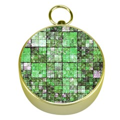 Background Of Green Squares Gold Compasses