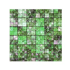 Background Of Green Squares Small Satin Scarf (Square)