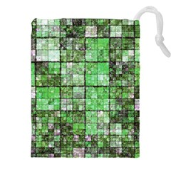 Background Of Green Squares Drawstring Pouches (XXL)