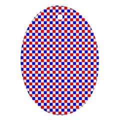 Blue Red Checkered Ornament (Oval)
